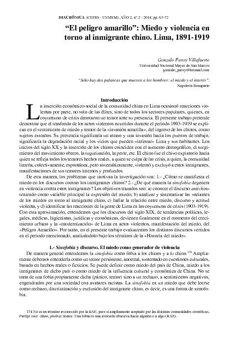 """""""El peligro amarillo"""": Miedo y violencia en torno al inmigrante chino. Lima, 1891-1919"""