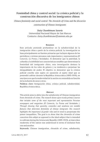 Feminidad china y control social: La crónica policial y la construcción discursiva de los inmigrantes chinos
