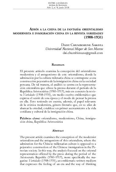 Adiós a la China de la fantasía: orientalismo modernista e inmigración china en la revista Variedades (1908-1931)