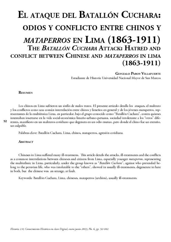 El ataque del Batallón Cuchara: odios y conflicto entre chinos y mataperros en Lima (1863-1911)