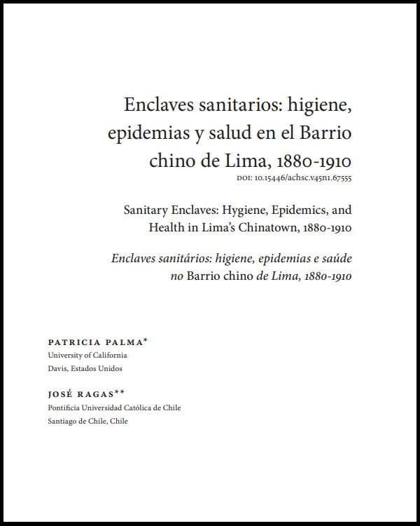 Enclaves sanitarios: higiene, epidemias y salud en el Barrio chino de Lima, 1880-1910