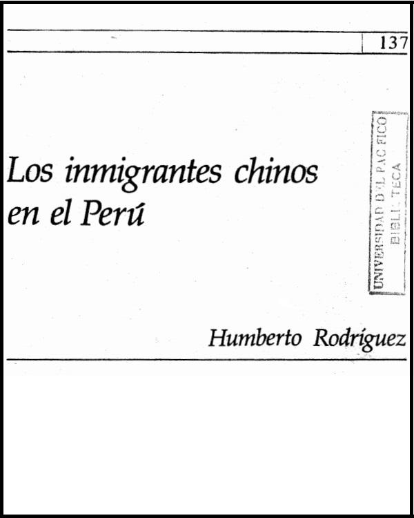Los inmigrantes chinos en el Perú