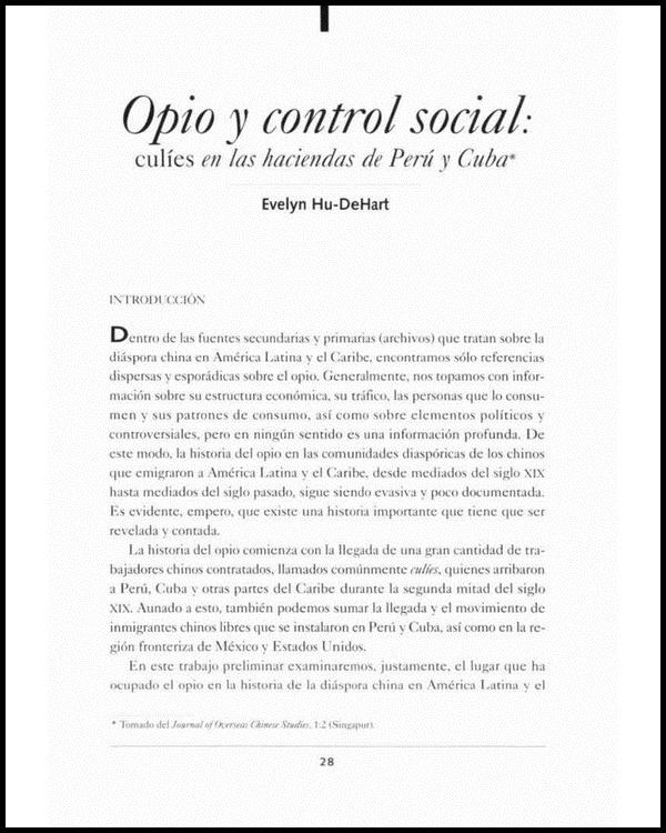 Opio y control social. Culíes en las haciendas de Perú y Cuba